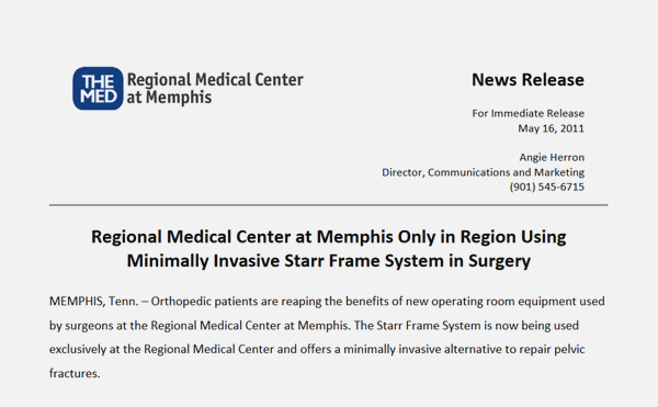 Regional Medical Center at Memphis Only in Region Using Minimally Invasive Starr Frame System in Surgery